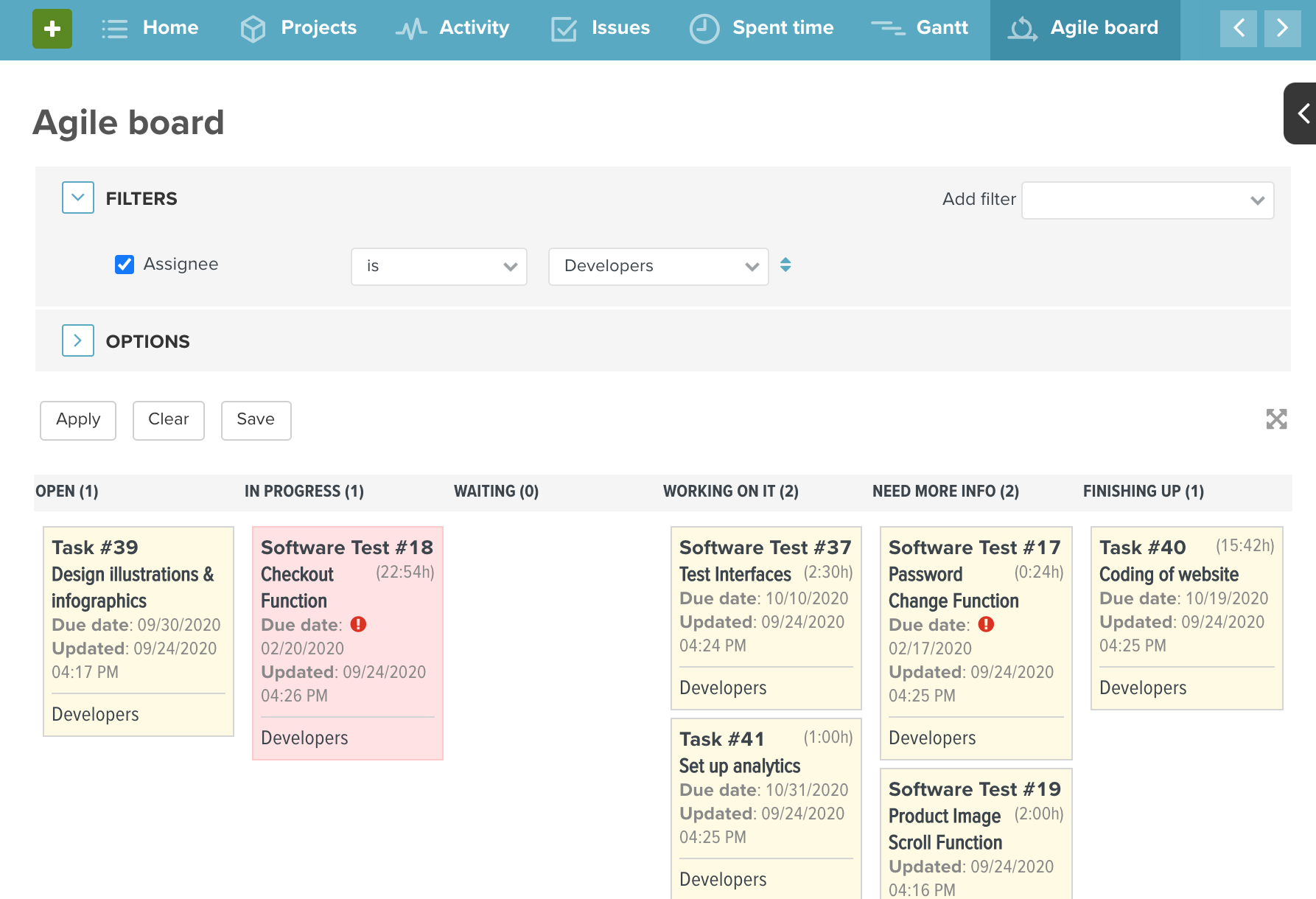 Agile Board with Assignee set to Developers