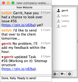 "Using Team Chat in <a href=""http://colloquy.info/"">Colloquy</a> for the Mac"